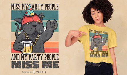 Diseño de camiseta de cita retro de gato de fiesta