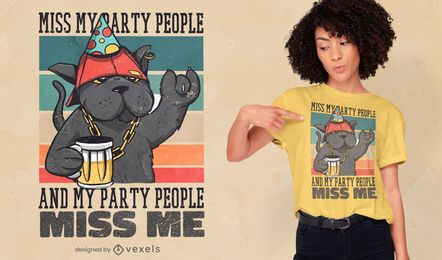 Party cat retro quote t-shirt design