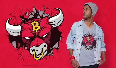 Angry bull bitcoin sign t-shirt design