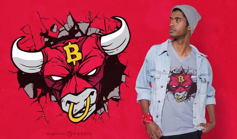 Diseño de camiseta de signo de bitcoin de toro enojado
