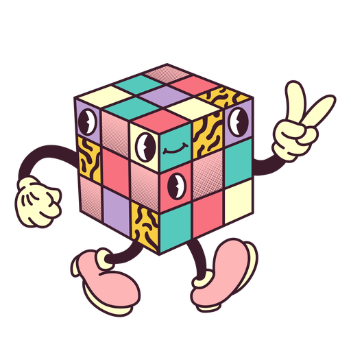 Rubiks cube retro cartoon