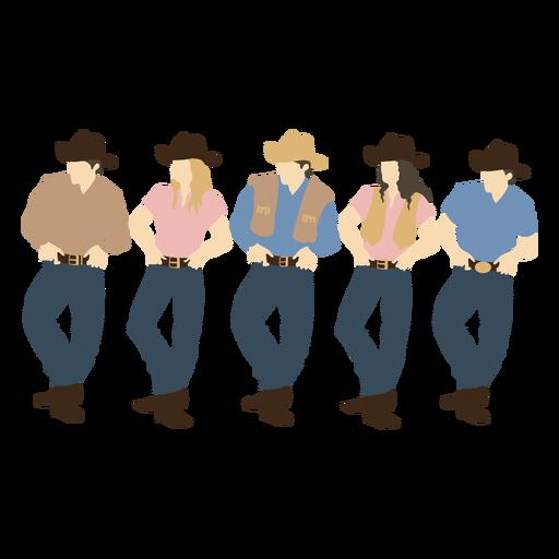 Group of cowboys flat