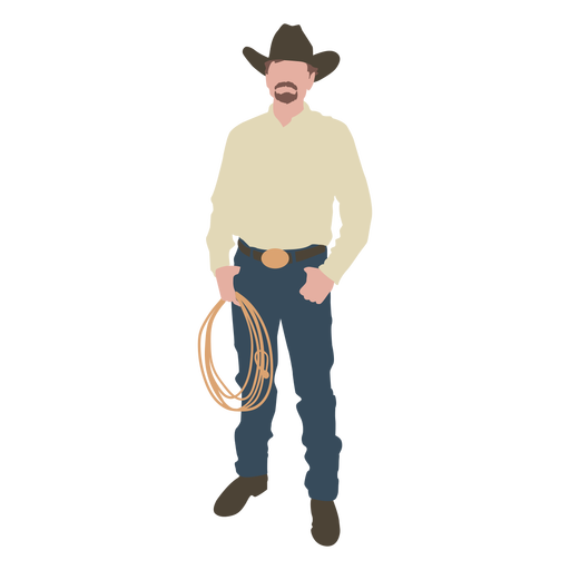 Cowboy with rope flat