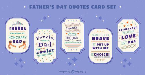 Conjunto de cartões de cotações do feriado do dia dos pais