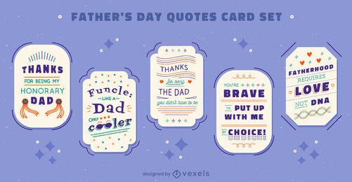 Father's day holiday quotes card set