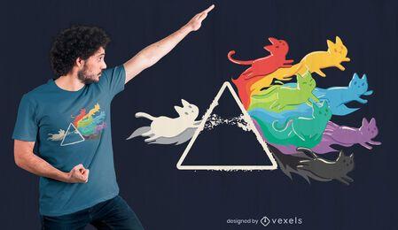 Diseño de camiseta cat rainbow prism