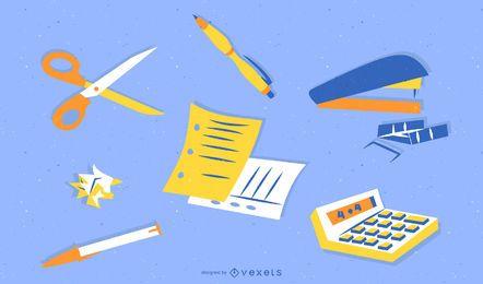 Grampeador, faca, tesoura, calculadora, canetas