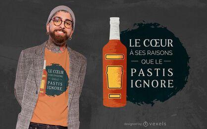 Design de t-shirt com citações de pastis de bebida francesa