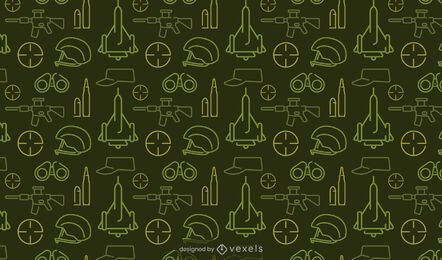 Projeto de padrão verde de elementos militares