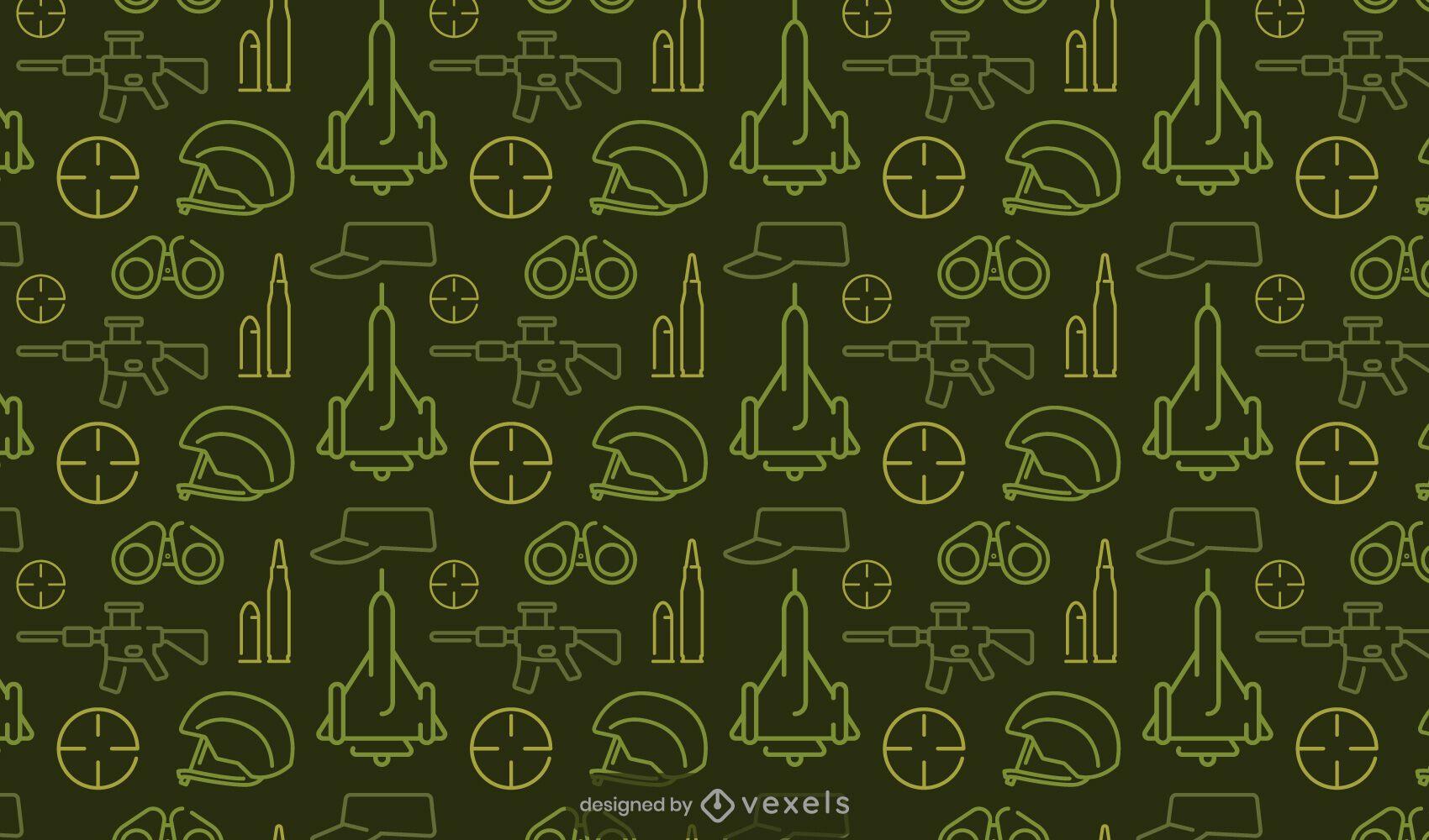 Diseño de patrón verde de elementos militares
