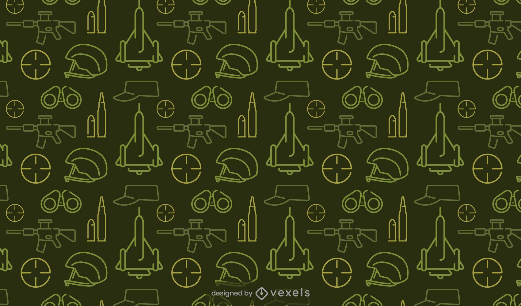 Military elements green pattern design