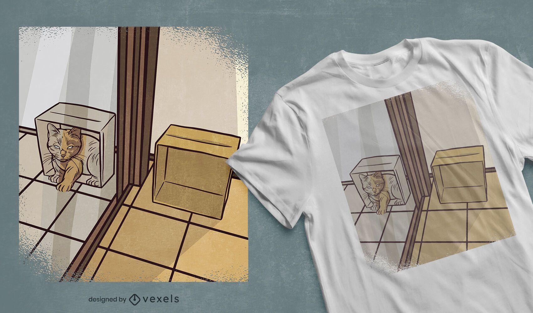 Diseño de camiseta de gato en caja de espejo.