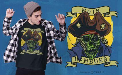 Diseño de camiseta de calavera pirata capitán