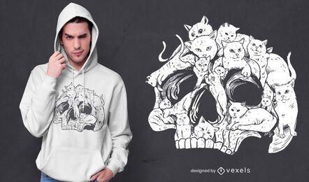 Diseño de camiseta de cabeza de calavera con gatos.