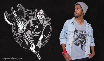 Design de camiseta com arma de guerreiro viking