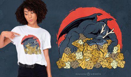 Diseño de camiseta de dragón sobre montón de dados