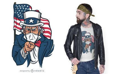 Uncle sam face mask t-shirt design