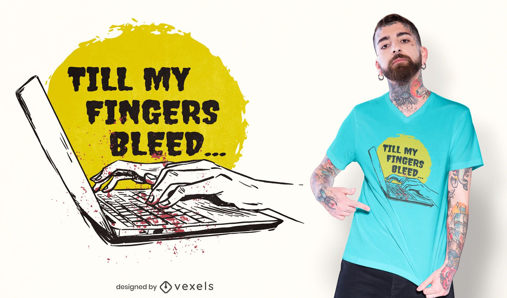Fingers typing on computer t-shirt design