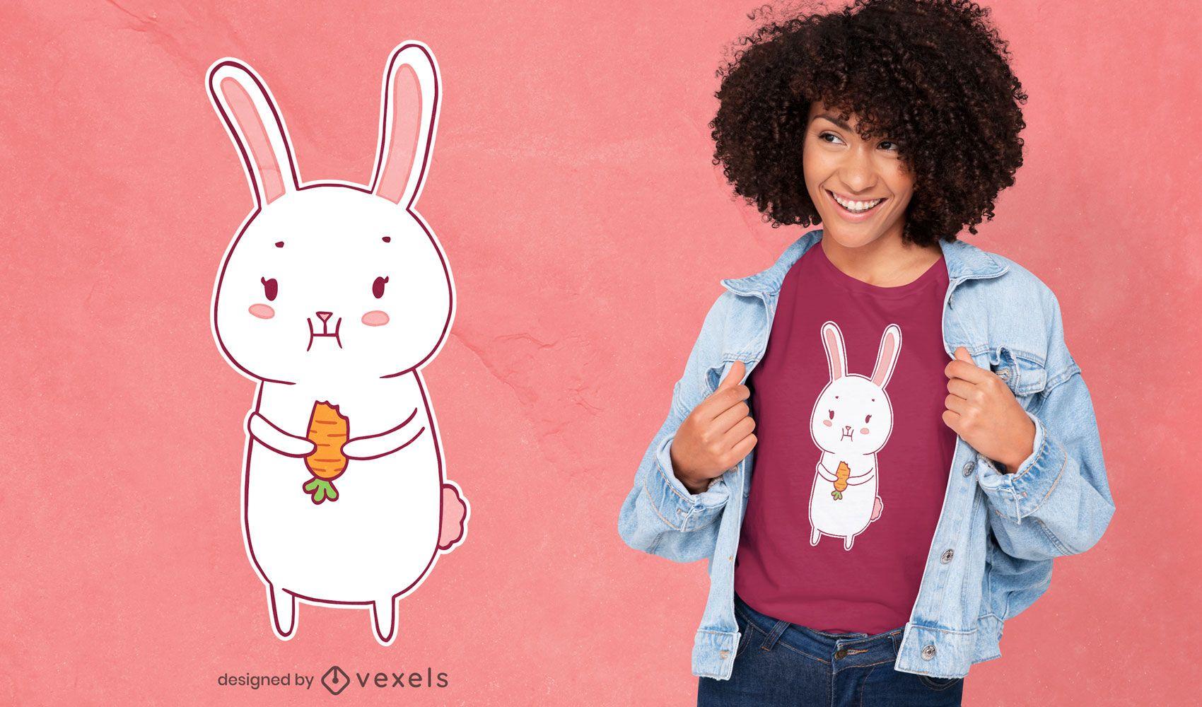 Diseño de camiseta lindo conejito comiendo zanahoria