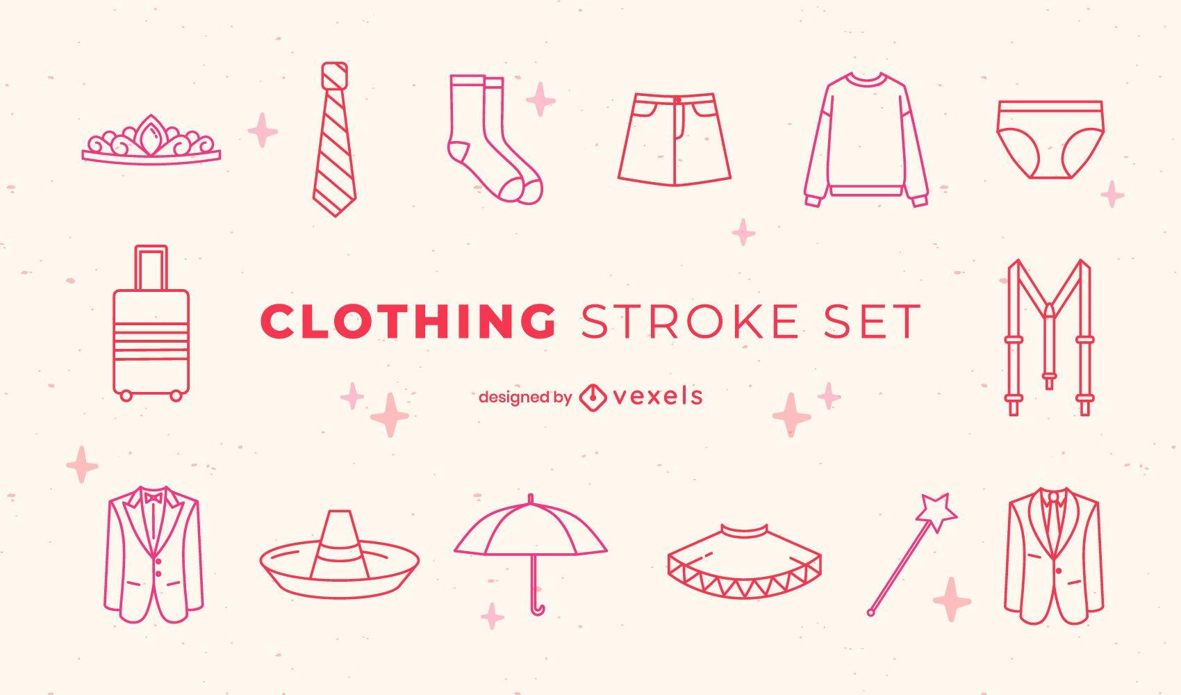 Conjunto de arte de línea de ropa y disfraces formales.