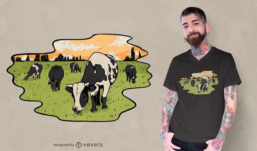 Diseño de camiseta de ilustración de vacas pastando