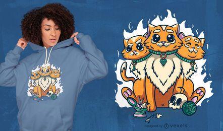 Diseño de camiseta de criatura esotérica de gato.