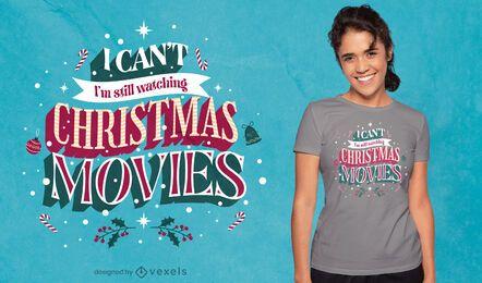 Diseño de camiseta con cita de películas navideñas.