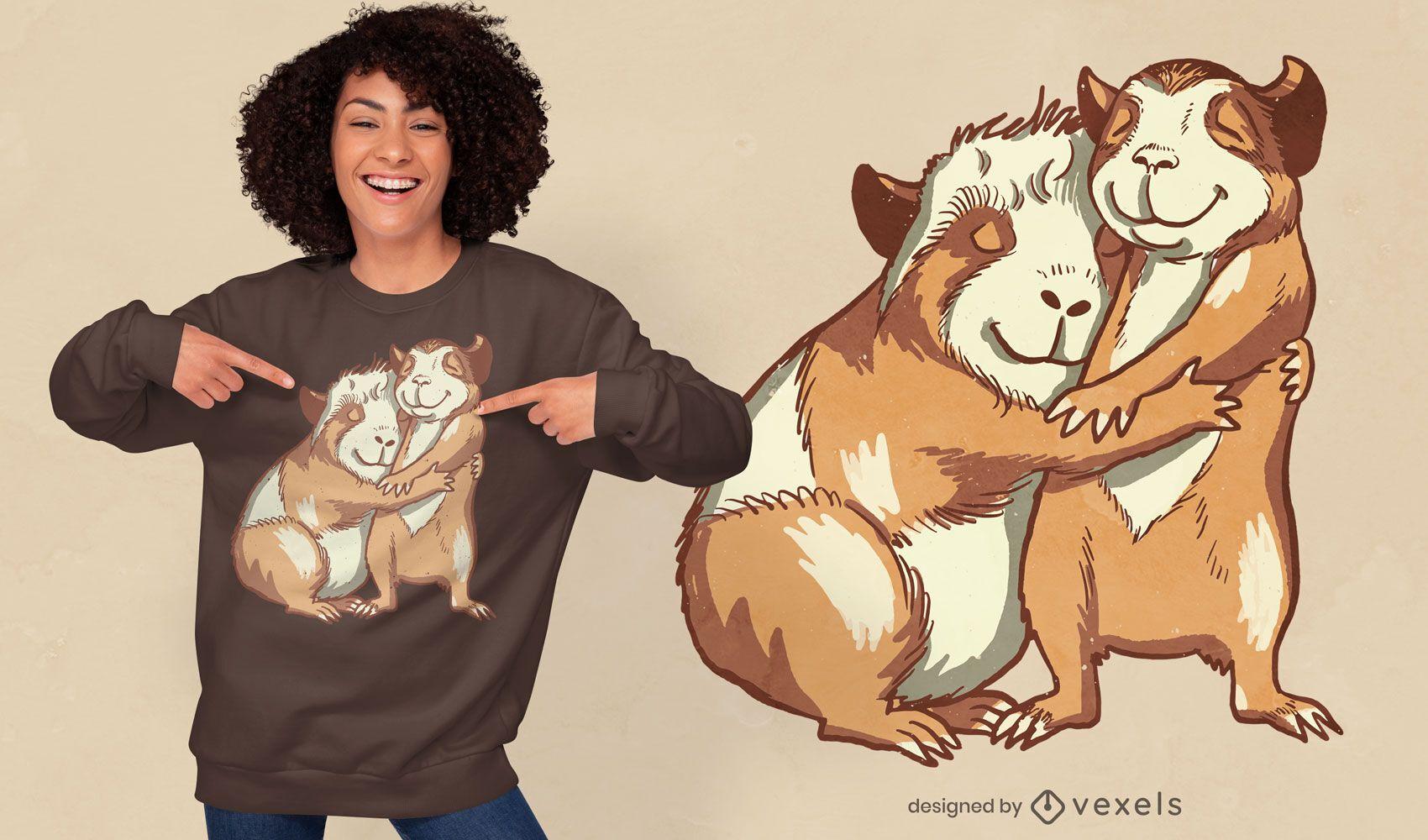 Porquinhos-da-índia felizes abraçando o design da camiseta