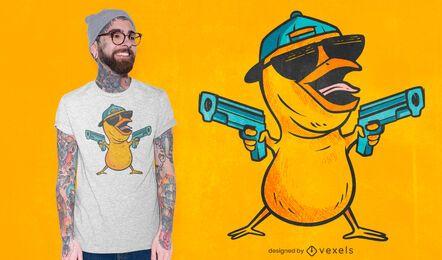 Dibujos animados de pollito con diseño de camiseta de armas