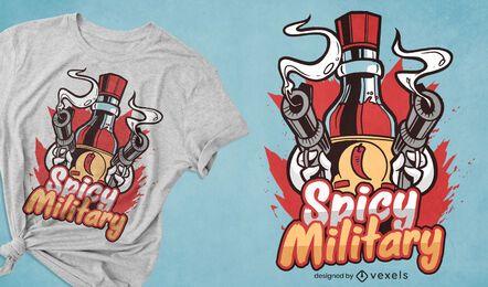 Molho picante com design de t-shirt de citação de armas