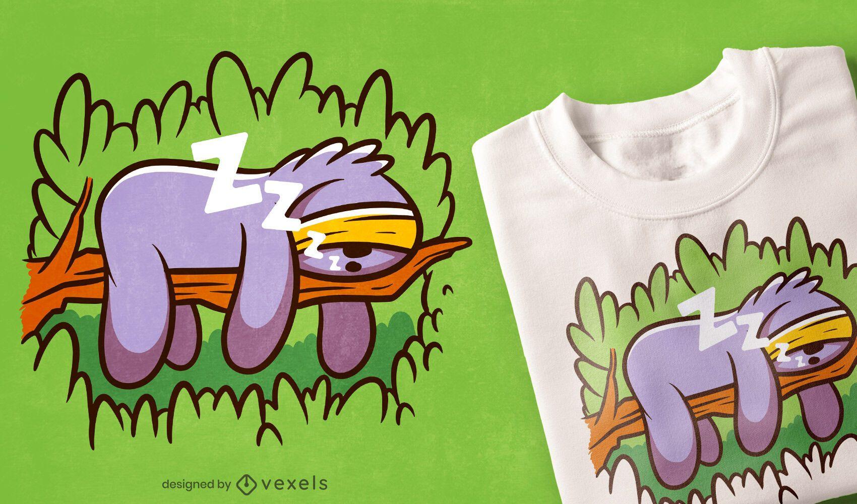 Diseño de camiseta de dibujos animados de perezoso de máscara de sueño
