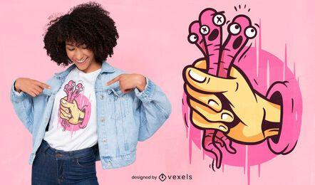 Diseño de camiseta de gusanos agarrando la mano.