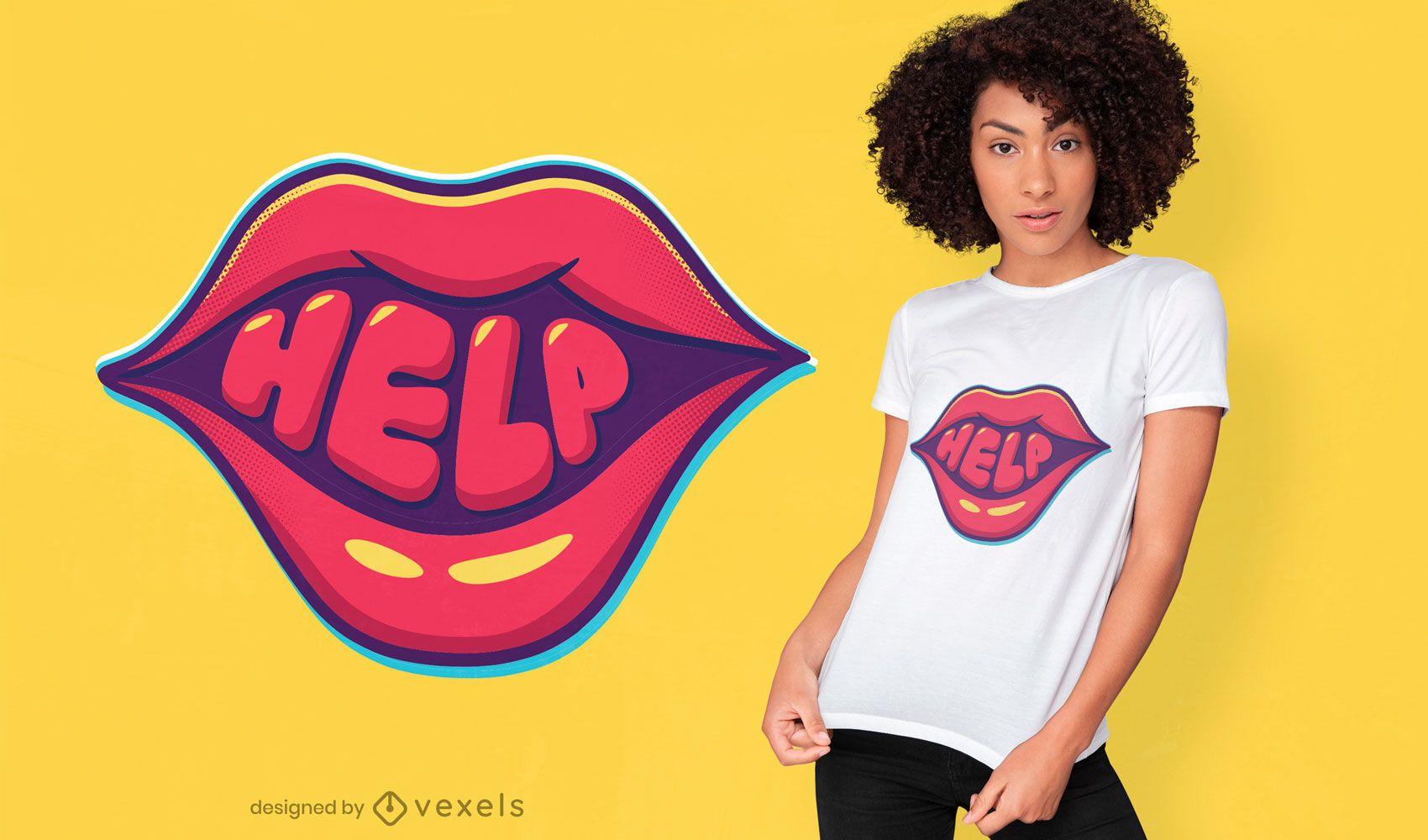 Dise?o de camiseta con letras en negrita de la boca