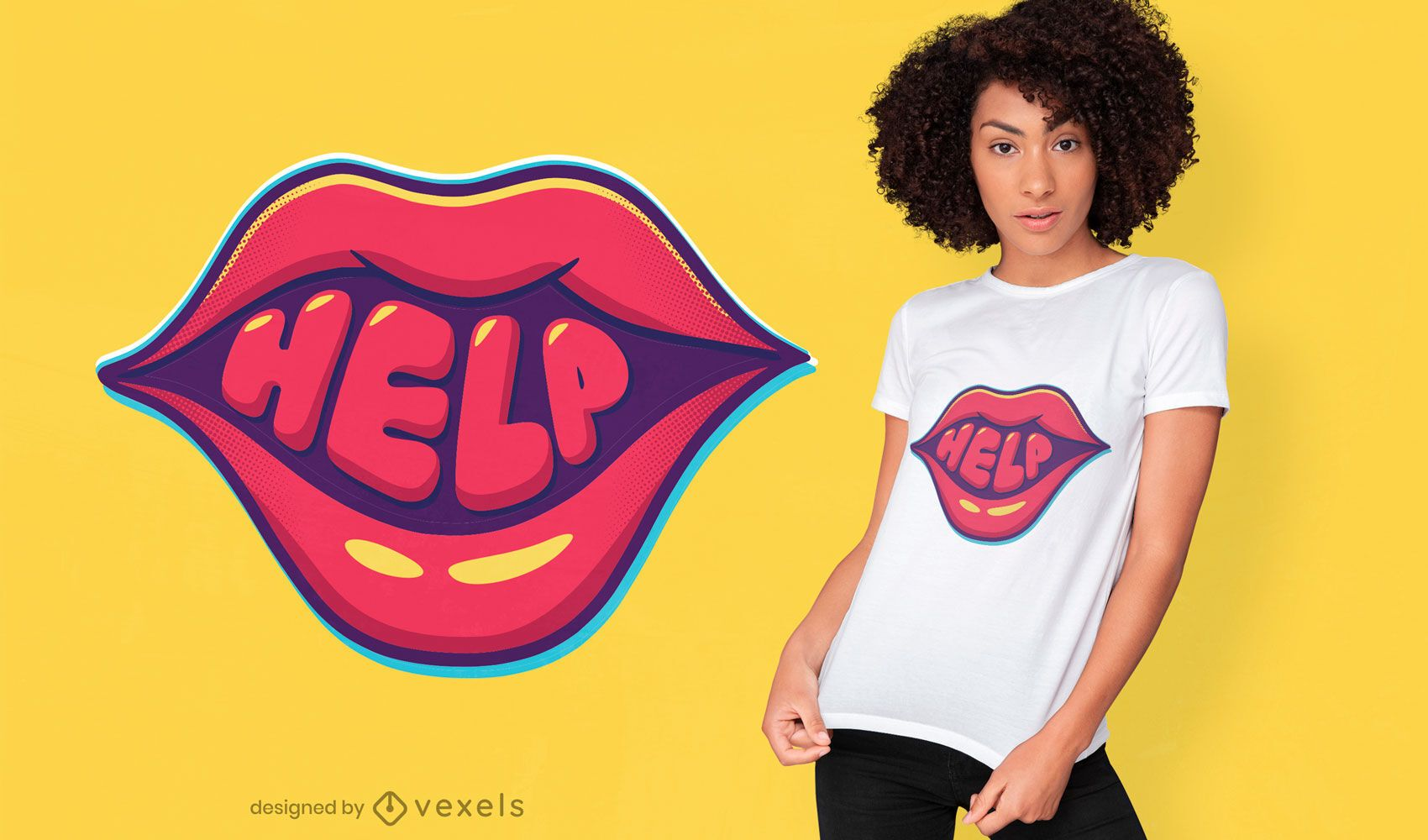 Help mouth bold lettering t-shirt design