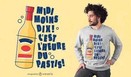 Design de t-shirt com bebida pastis com citações francesas