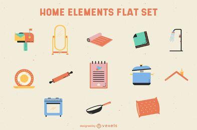 Conjunto plano de elementos surtidos para el hogar.