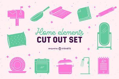 Conjunto de recortes de elementos domésticos