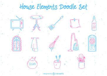 Conjunto de doodle de elementos de cozinha doméstica