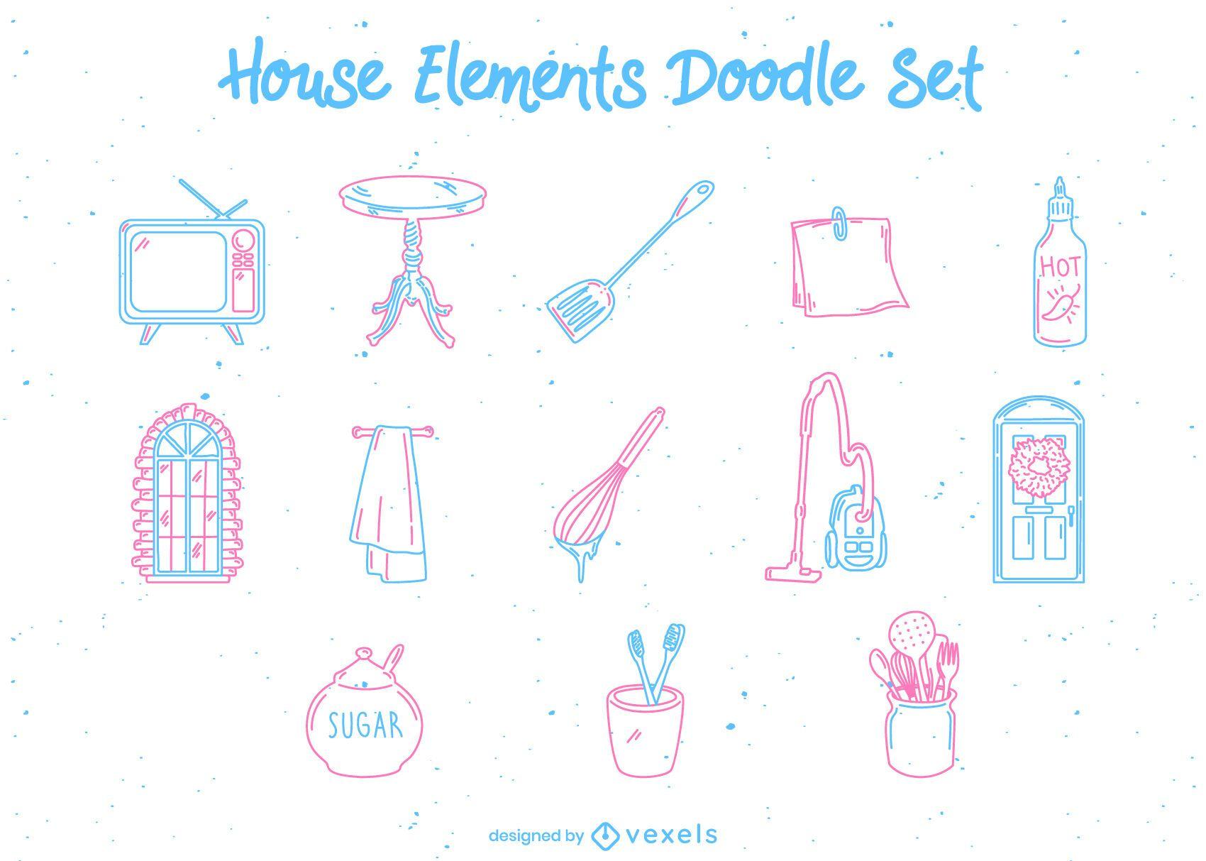 Home kitchen elements doodle set