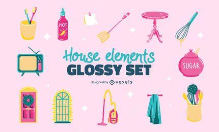Conjunto de elementos domésticos variados brilhantes