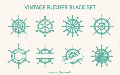 Conjunto de elementos de corte de roda de leme de navio