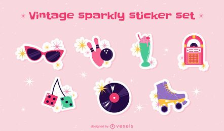 80's vintage cute sparkly sticker pack