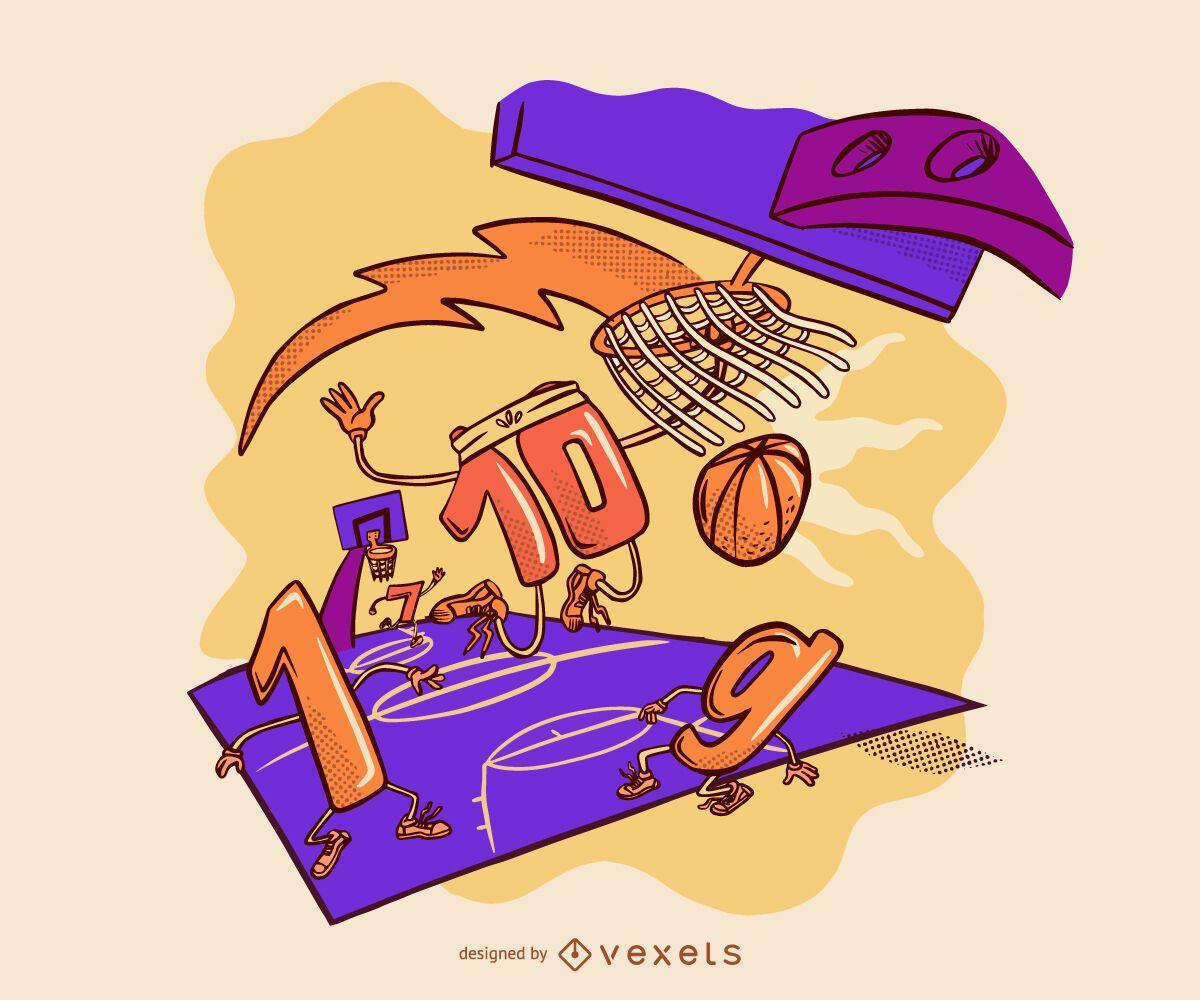 Basketball numbers match illustration