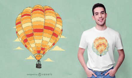 Diseño de camiseta de globo de aire caliente colorido