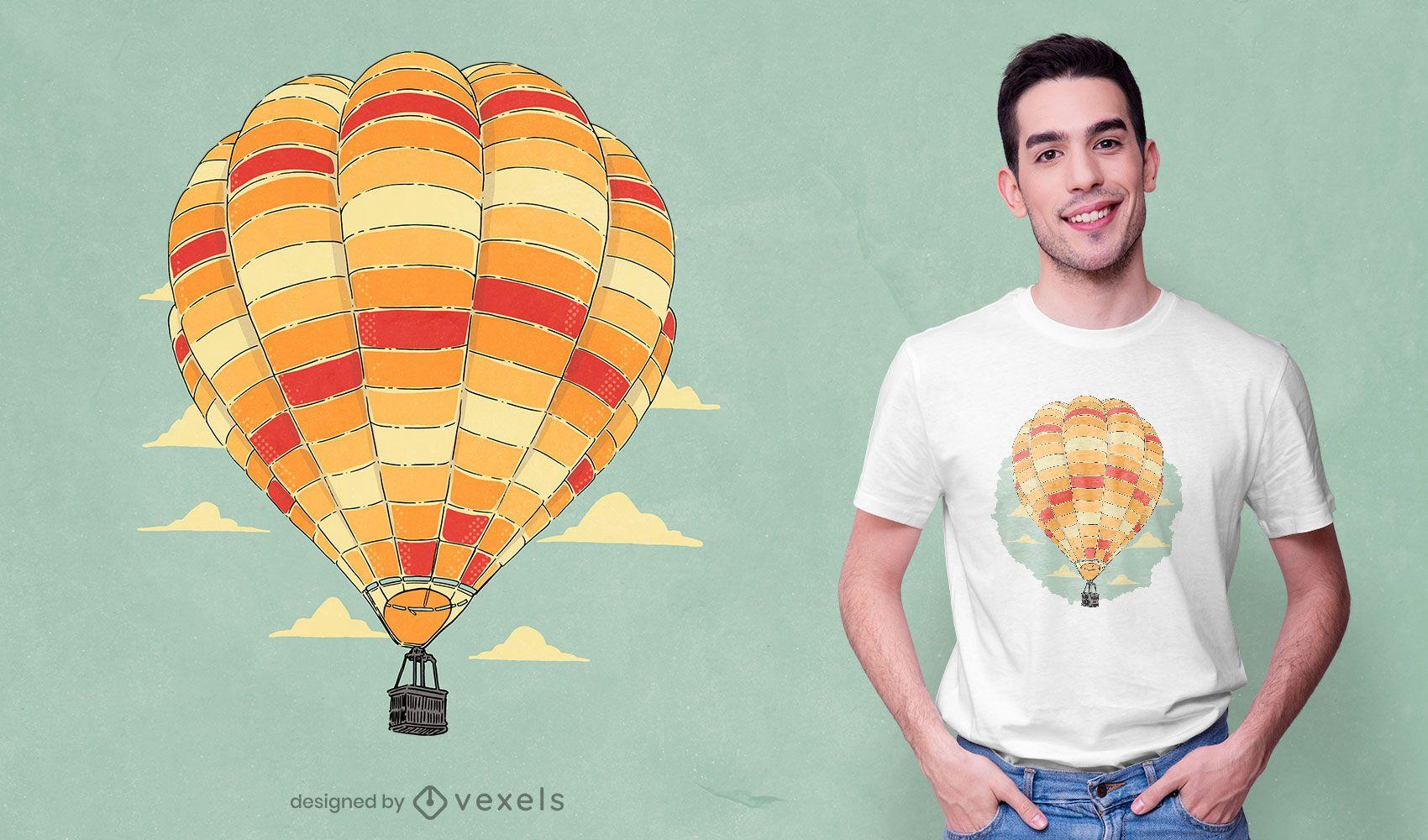 Design de camiseta colorida em balão de ar quente