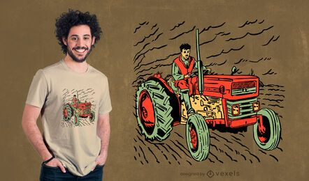 Teenager driving tractor t-shirt design