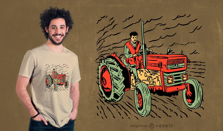 Desenho de t-shirt de trator para adolescente dirigindo