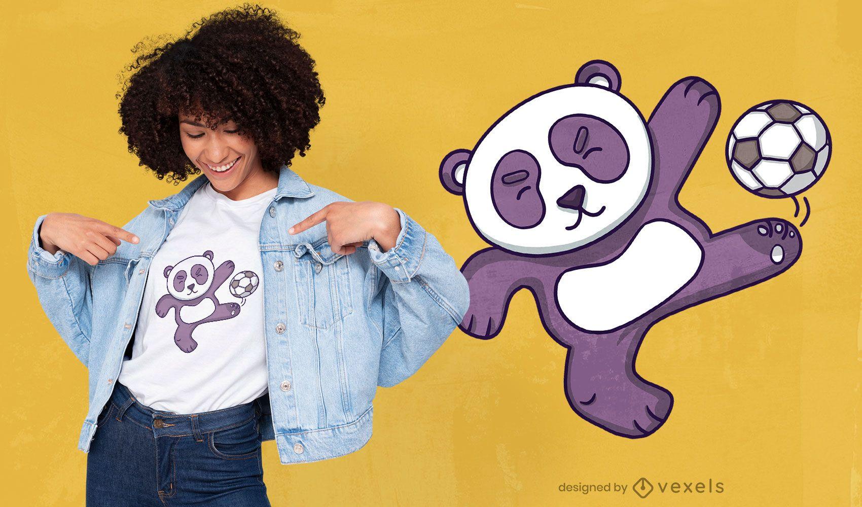 Panda playing soccer t-shirt design