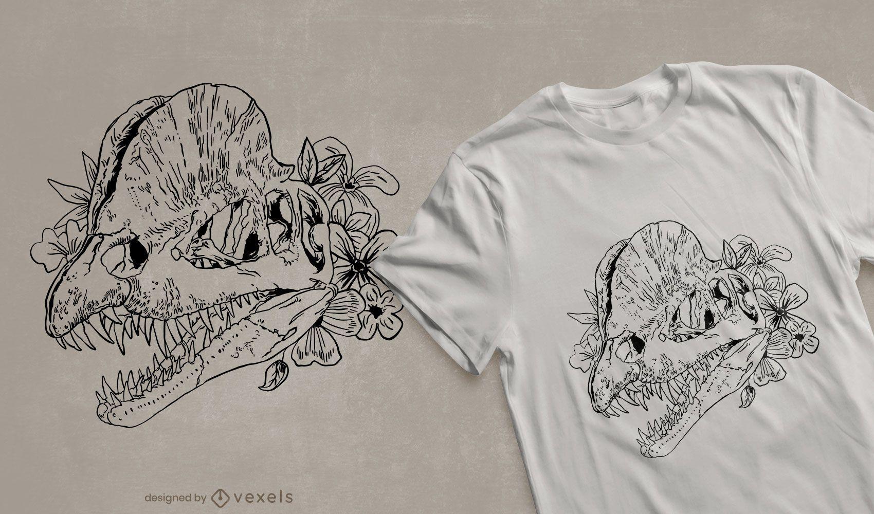 Floral dinosaur skull t-shirt design