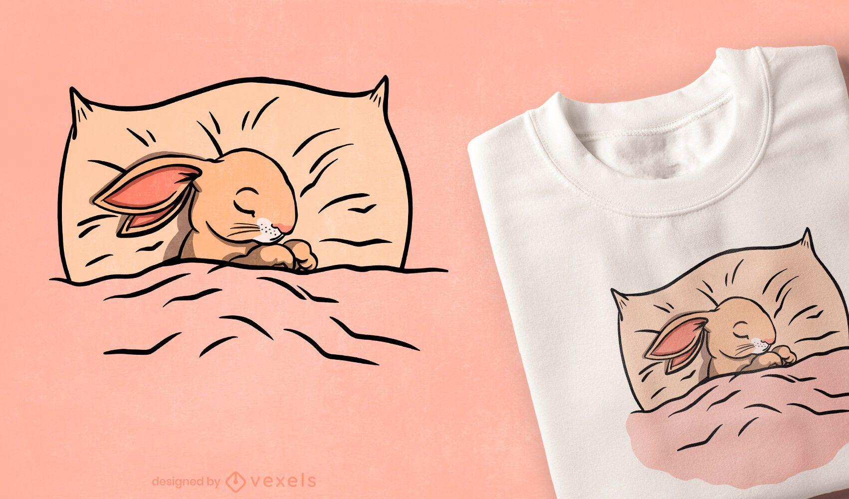 Diseño de camiseta lindo conejito durmiendo